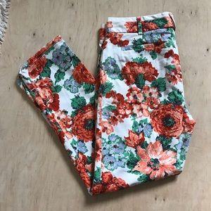 Cartonnier Anthropologie Floral Cropped Pants Sz 6